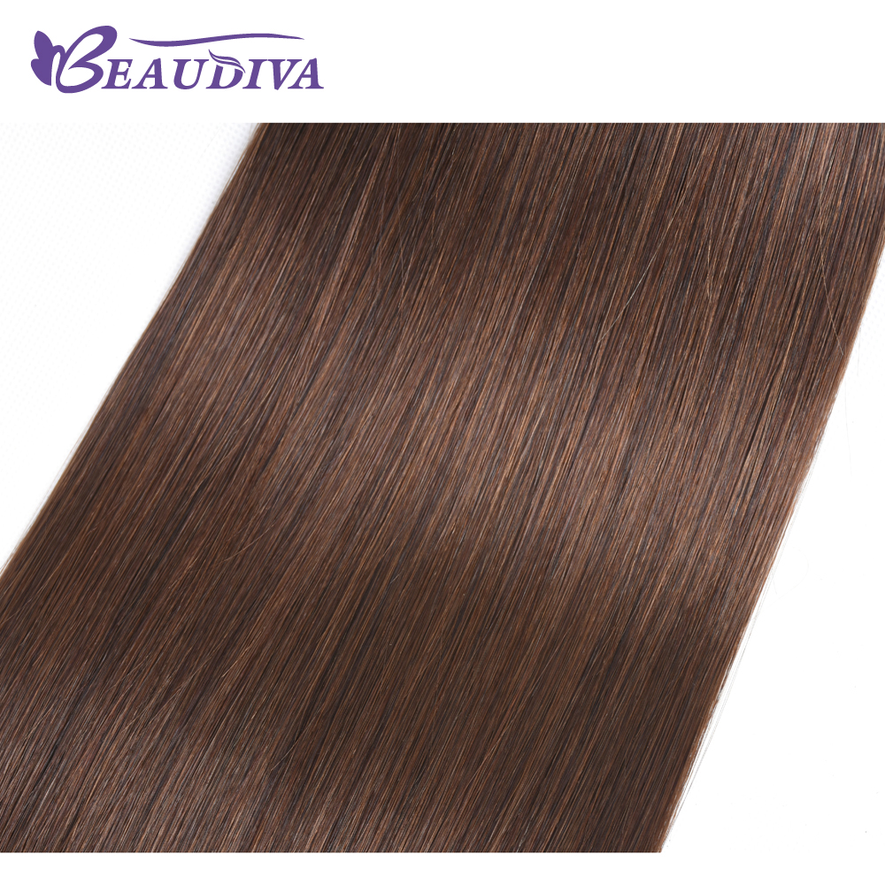 Beaudiva Pre Colored Hair Weave Straight Human Hair Bundles 4 Pieces #4 Light Brown Malaysian Hair Weave Bundles Non Remy Hair-in Hair Weaves from Hair Extensions & Wigs    2