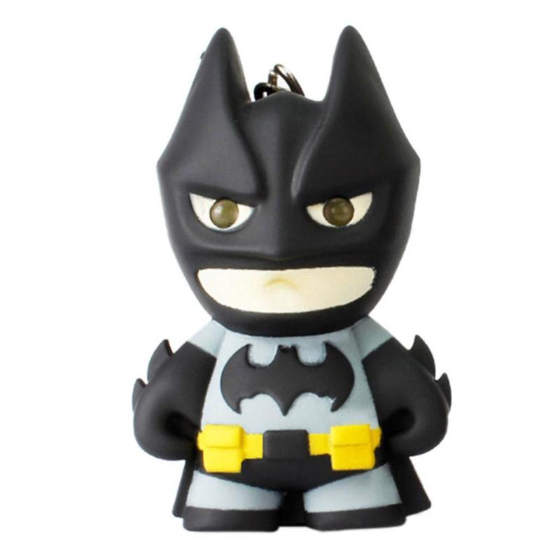 Superhero Batman Design LED Keychain Flashlight Sound Pendant Key Ring Gift