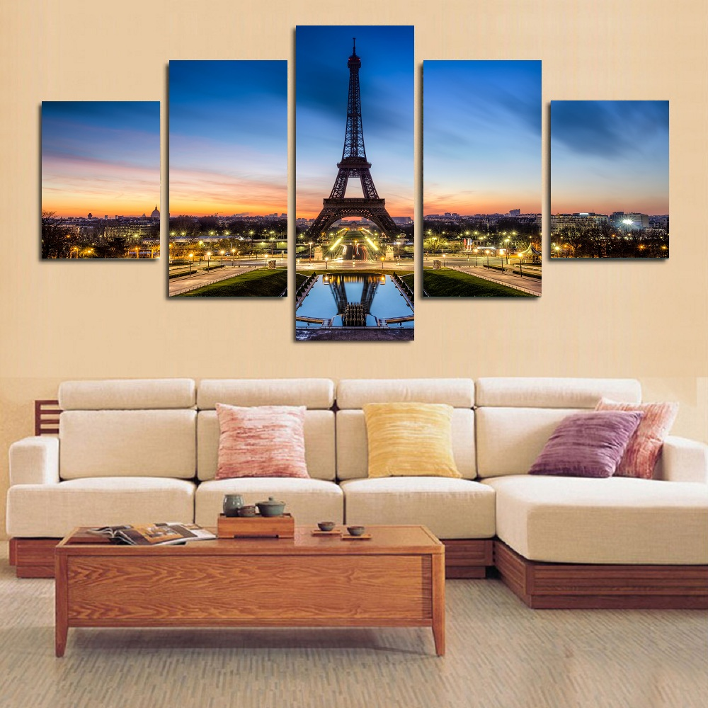 5 pcs landscape painting canvas wall art picture home - Contemporary wall art for living room ...