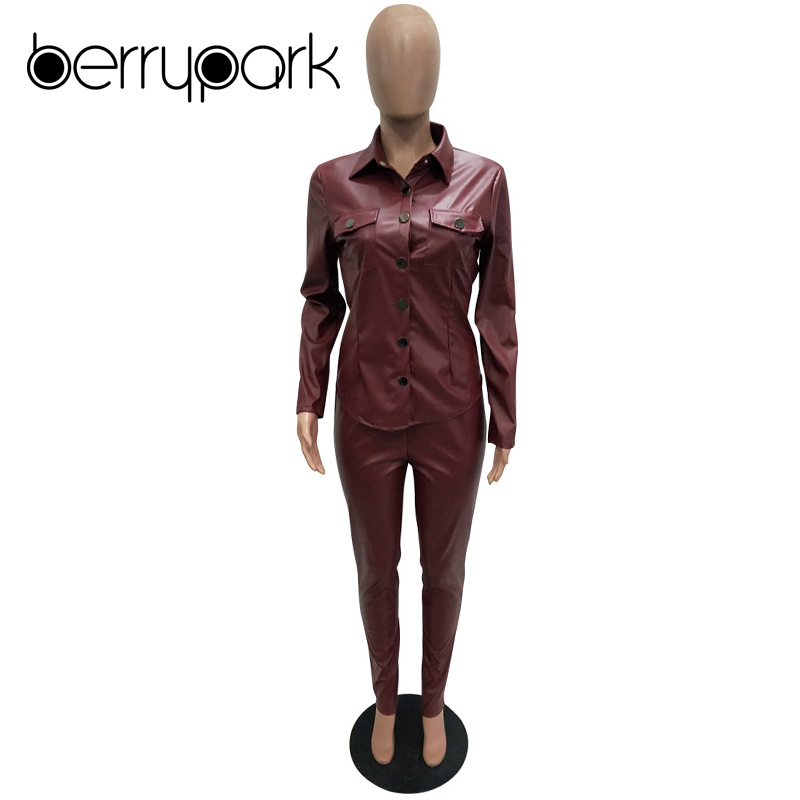BerryPark High Fashion PU Leather 2Pcs Set 2019 NEW Women Turn-Down Collar Pockets Jacket and Pencil Pants Outfits Dropshipping 4