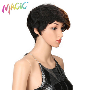 Image 4 - magic Hair Short Synthetic Wigs Women Heat Resistant Hair 8 Inch Short synthetic wigs for women wave 3 Color Free Shipping