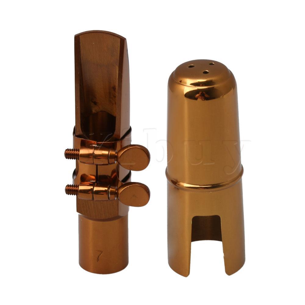 Chapeamento de Ouro Yibuy Subiu Saxofone Alto Sax Ligadura Cap Mouthpiece With 7 eb