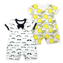 цена на Brand New Style 2pcs/lot Newborn Baby Romper Summer Short Sleeve Cotton Infant Toddlers baby Jumpsuit Baby boy Clothes body suit