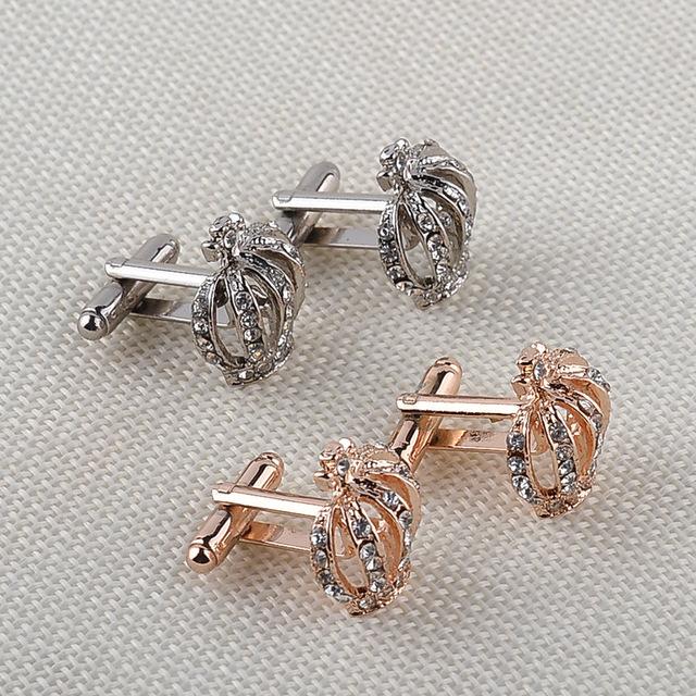 Gold Silver Rhinestone Imperial Crown Cufflinks Wedding Jewelry Cuff Links