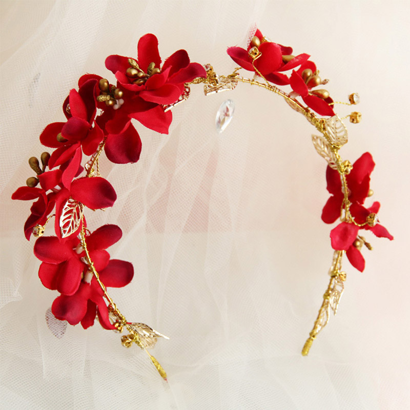 FORSEVEN Crystal Red Pink White Flower Crown Tiara Bridal Bride Wedding Jewelry Accessories Hair Decorate Hairband Headband