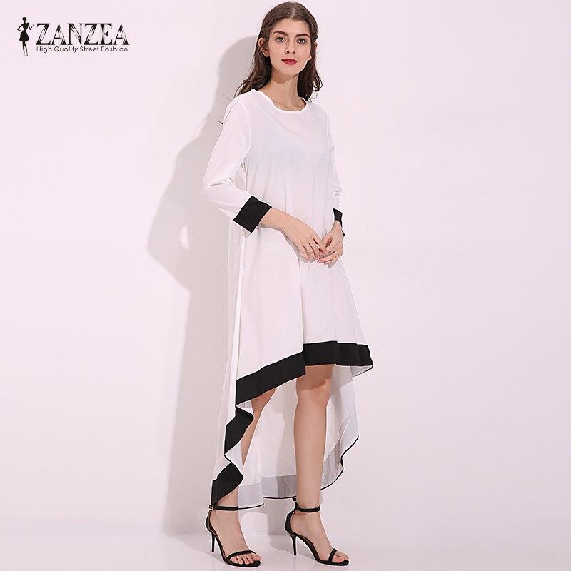 Zanzea otoño 2017 moda para mujer de gasa asimétrico largo maxi dress patchwork