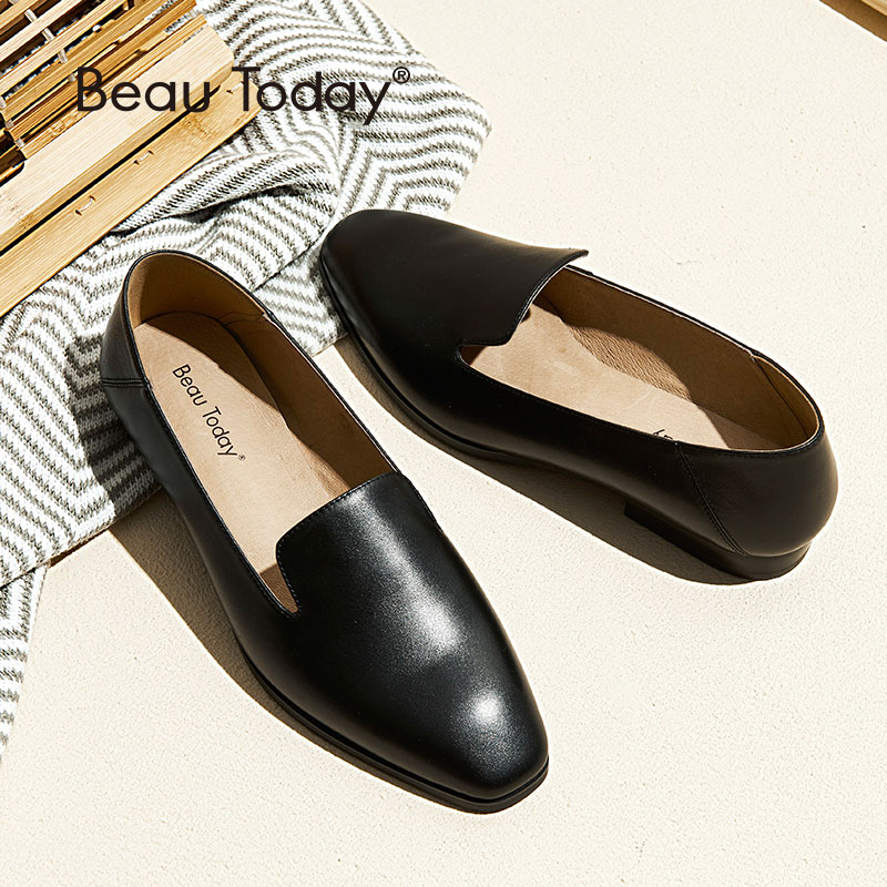 BeauToday Loafers Women Calfskin Leather Brand Square Toe Slip-On Lady Flats Top Quality Shoes Handmade 27089BeauToday Loafers Women Calfskin Leather Brand Square Toe Slip-On Lady Flats Top Quality Shoes Handmade 27089