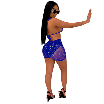 Adogirl Sheer Mesh Diamonds Night Club Two Piece Set Women Fashion Sexy Tankini Swimwear Bra Top + Summer Shorts Party Outfits 3