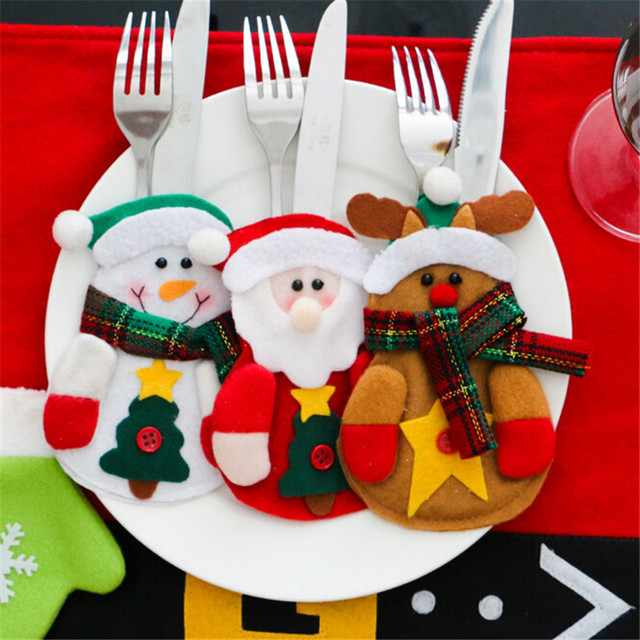 3Pcs/Lot Christmas Decoration For Home 2017 Cutlery Suit Silveware Holders Porckets Knifes Folks Bag Snowman Dinner Decor