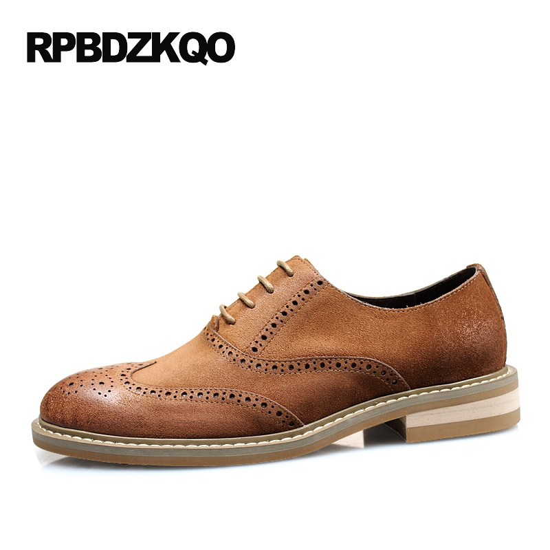 Wingtip Brogue Oxfords Dress Tan Men Formal Suede Shoes Elegant Genuine Leather Italy Business Office Big Size Real Brown