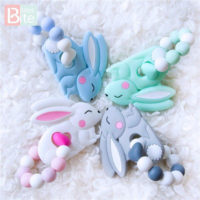 Купить с кэшбэком Bite Bites 1PC Baby Silicone Beads Bunny Bracelet Teether Food Grade Sesame Beads Children Goods For Baby Teether Nursing Gift