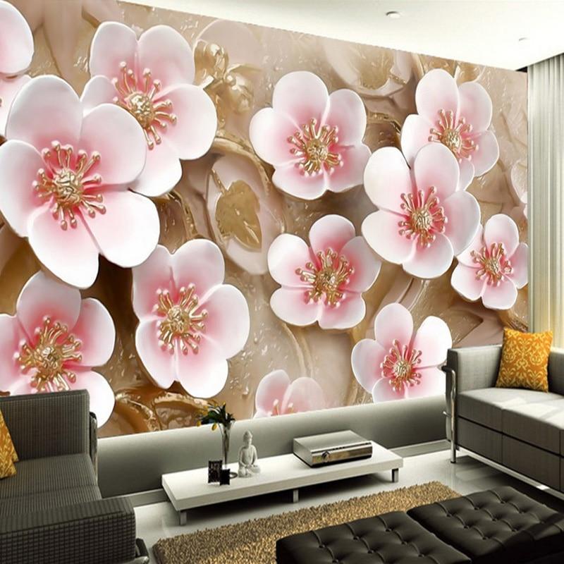 Custom Wall Mural Wallpaper 3D Stereoscopic Embossed Plum Living Room Sofa TV Background Room Decor Wallpaper Modern Painting