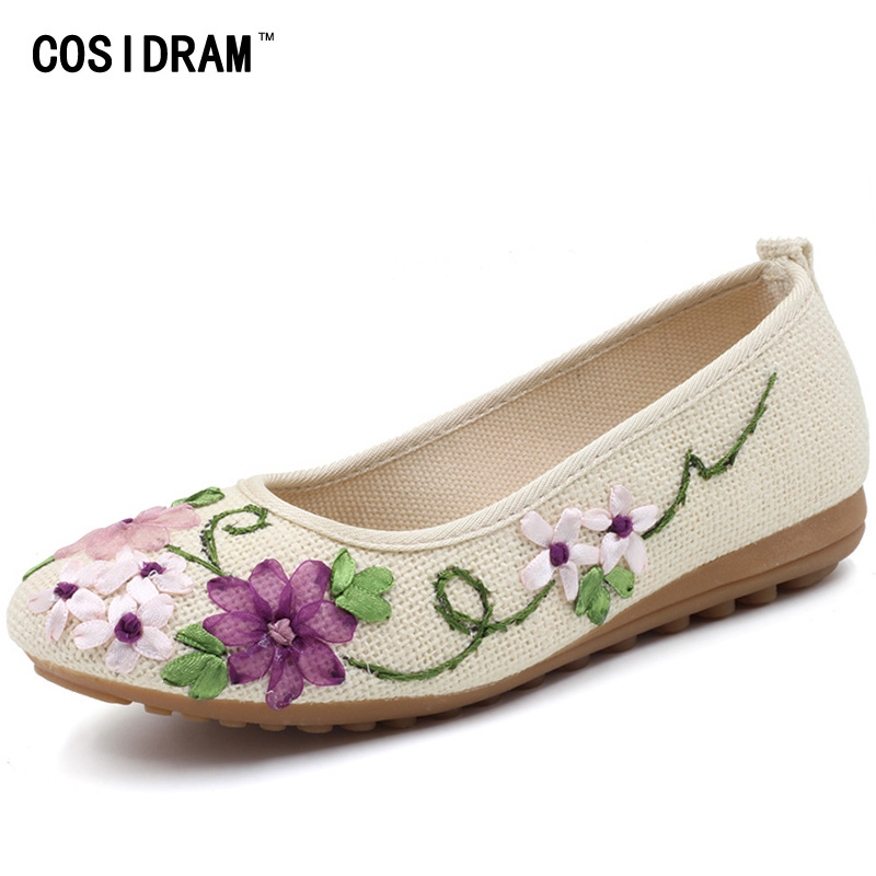 New 2017 National Hemp Linen Women Flats Casual Shoes Ladies Flower Embroidered Shoes Mother Fashion Flat Shoes Female SNE-670 spring hemp women flats linen canvas slip on women casual shoes ladies fashion brand plimsolls female footwear sne 170