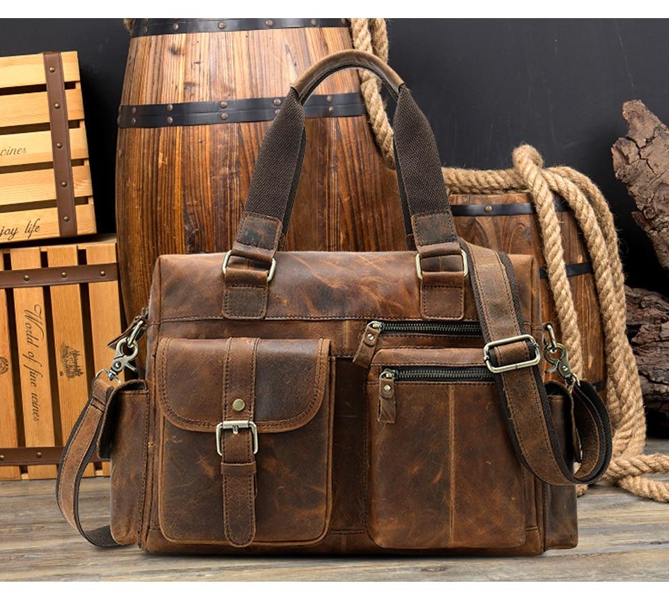 HTB1ohrMX0fvK1RjSspoq6zfNpXaW MVA Genuine Leather Men's Briefcase Messenger Bag Men's Leather Laptop Bag For men Office Bags For Men Briefcase Handbags 8537