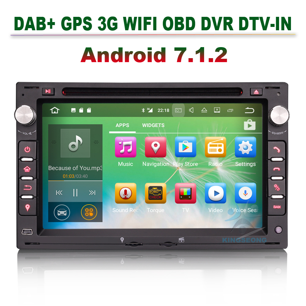 Android 7.1.2 Car DVD Player GPS Navigation DAB+ Radio 3G WIFI OBD For VW BORA POLO PASSAT B5 GOLF T5 MULTIVAN TRANSPORTER JETTA