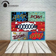 Allenjoy comic style backdrop dialog boxes Big explosion backdrops for children birthday party photocall photo booth fond