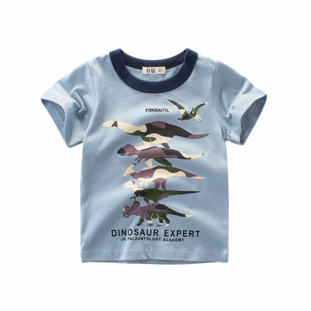 Boys & Girls Cartoon T-shirts Kids Dinosaur Print T Shirt For Boys Children Summer Short Sleeve T-shirt Cotton Tops Clothing 1