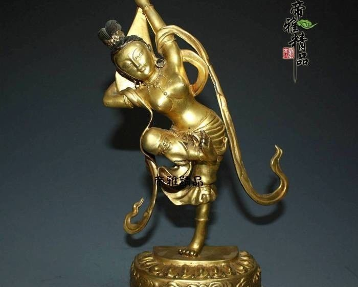 China Bronze Copper 24K Gold Gild Lute Tara Goddess Kwan-yin Bodhisattva Statue