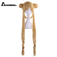 Anogol Brand New Sailor Moon Tsukino Usagi Long Curly Blonde Double Ponytail Synthetic Cosplay Wig For Girl's Costume Party