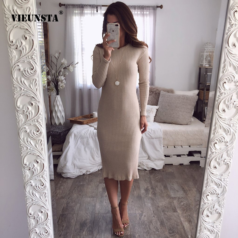VIEUNSTA Women Sexy Split Package Hip Sweater Dress 2018 Autumn Winter Knitted Warm Dresses O-Neck Long Sleeve Bodycon Dress svečane haljine otvorenih leđa