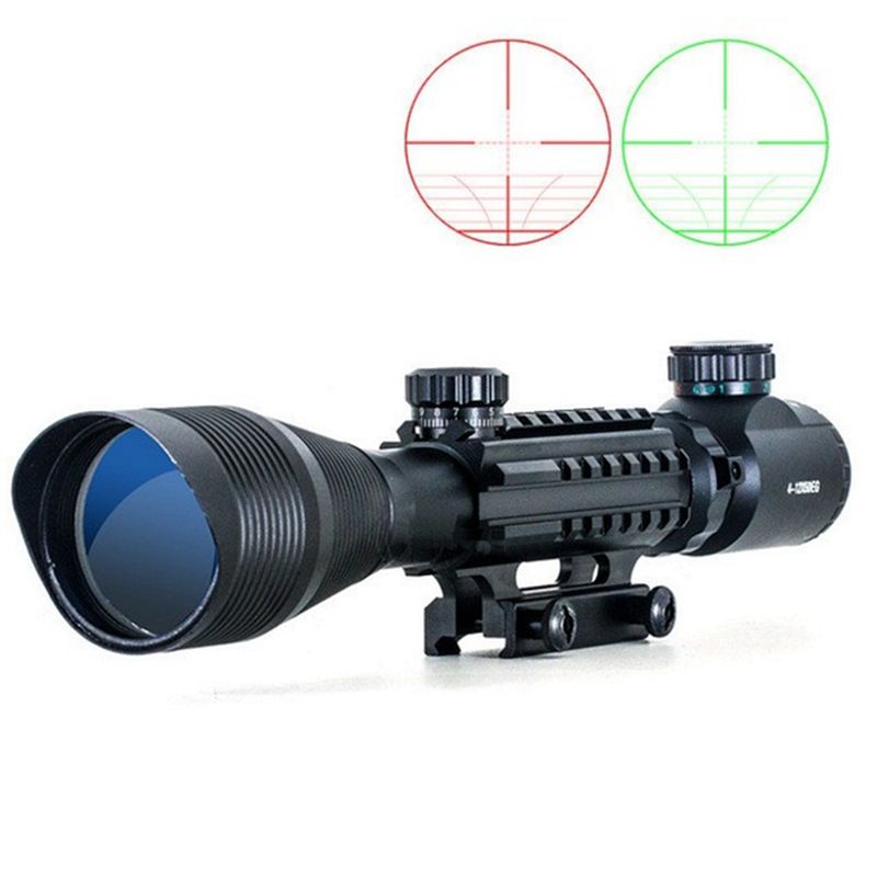 WIPSON Tactical Hunting Aim C4-12X50 Optic sight Red Green Dual illuminated w Side Rails & Mount Airsoft Rifle Scope Collimating wipson lanterna airsoft led light tactical kit includes la 5 peq 15