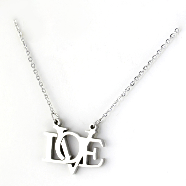 WholesaleRetail! Sunny 316L Stainless Steel Silver Love Word Pendant Neklace For Women/ Girl, Lowest Price Best Qualityorf