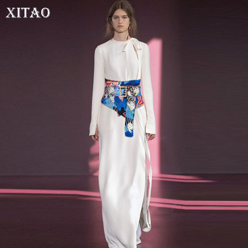 XITAO Irregular Print Pattern Cummerbunds Korea Fashion New Women Tassel Hollow Out Geometrical Pattern Cummerbunds GCC1010