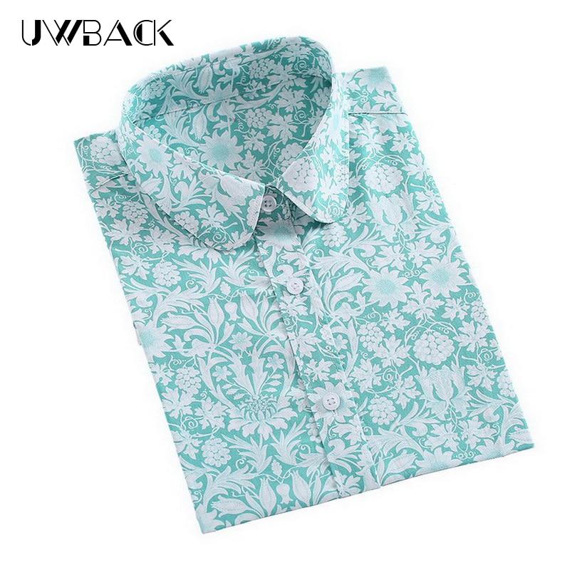 Uwback Ženy Vintage Květinové Tiskové Košile 2018 Nové Jarní Bavlněné Košile Květ Přepínací Límec Halenky Novinka Plus Velikost, EB111