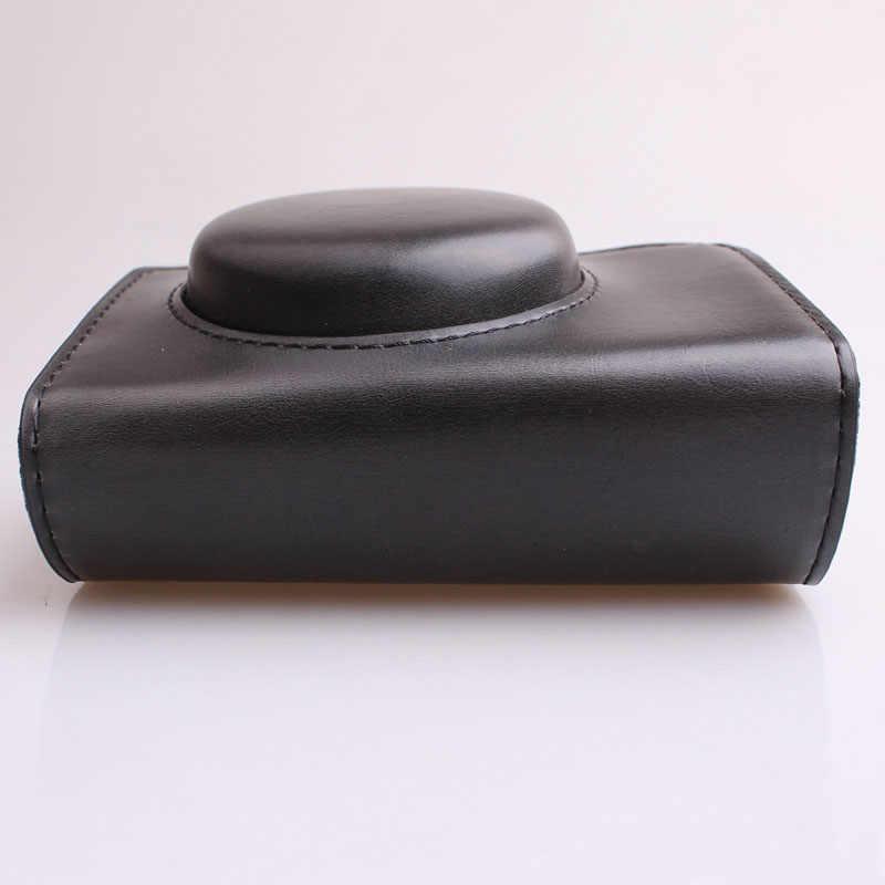 Przenośny futerał ze skóry PU torba na aparat dla Canon SX740 SX740HS SX720HS SX720 SX730HS SX730 etui z paskiem na ramię