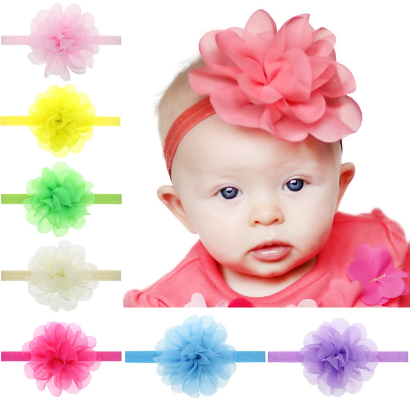 Flowers Yarn Elastic Headbands Soft Hair Bands Headwear for Children Hair accessories Ornament