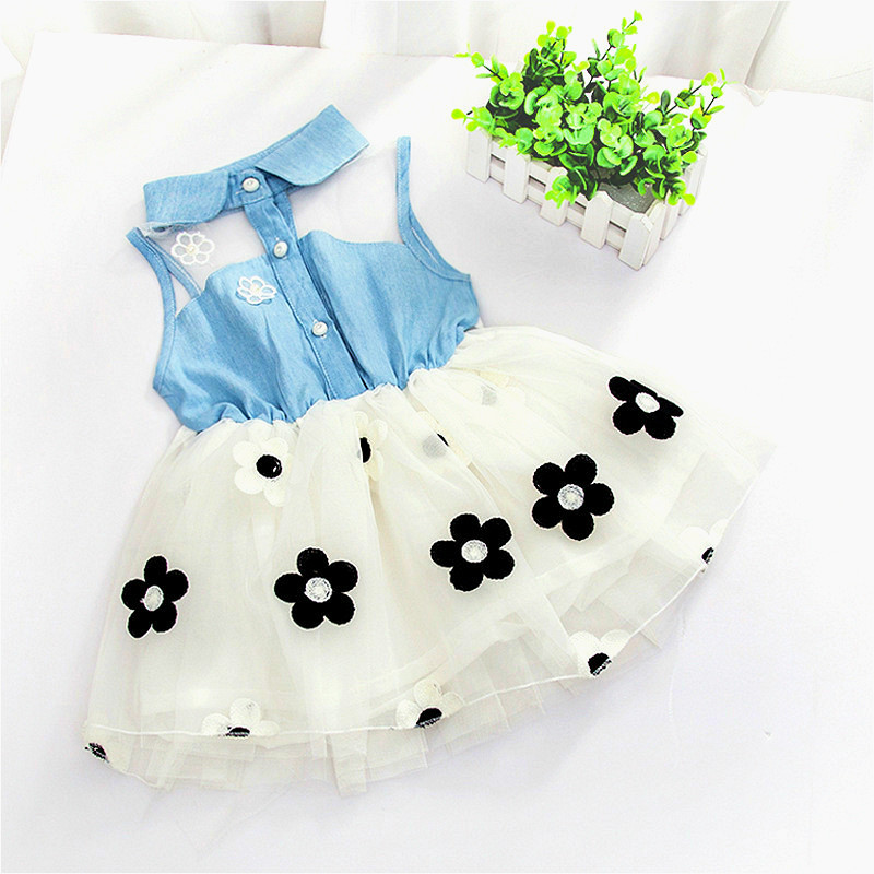 Baby Dress Promotion Rushed Knee-length A-line Casual Sleeveless 2017 Baby Girl Summer Dress Princess 0-1-2-4 Years Old Cowboy
