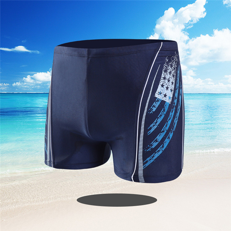Swim-Pants Boxer 4zg Built-In-Tie-Rope Independence-Day Elasticated Men's Fashion