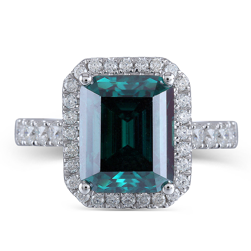 Transgems 8X10mm Emerald Gemstone Halo Engagement Ring 14K White Gold with Moissanite Accents for Women