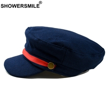 цена на SHOWERSMILE Navy Blue Hat Military Women Woolen Flat Top Cap Adjustable Female Captain Hat Vintage Ladies Spring Autumn Army Cap