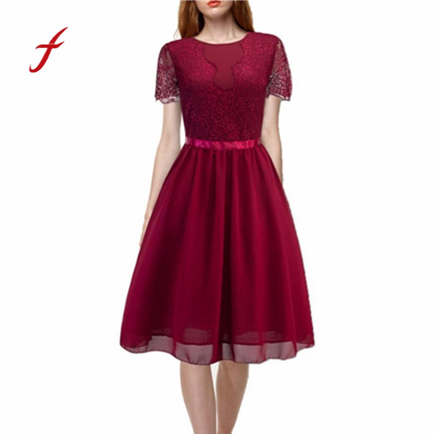 Women Floral Lace Formal Cocktail Party Dress Short Sleeve Dress
