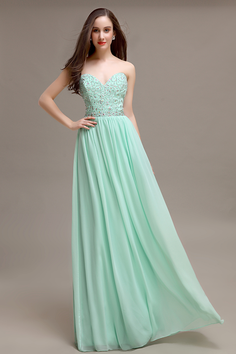 Long A line mint strapless crystal Prom Dress charming popular ...