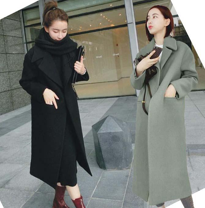 2xl plus big size coats women spring autumn winter 2017 feminina thick cloth thin long woolen trench coats female Q0078