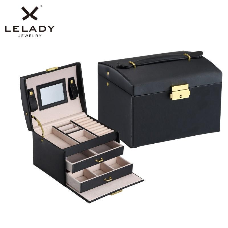 Big Jewelry Box Multifunction Three Layers Large Capacity Leather Storage Jewelry Box with Mirror Watch Jewelry Organizer Box цена 2017