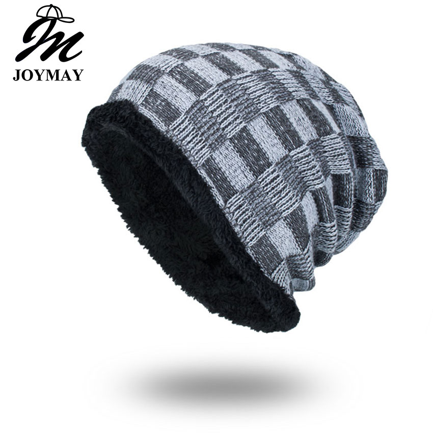 Joymay 2017 Brand New Winter Autumn Beanies Hat Unisex Warm Soft Skull Knitting Cap Hats Touca Gorro Caps For Men Women WM062 the new 2016 han edition affixed cloth wave cap hat hat tip to keep warm letter knitting hat qiu dong men and women