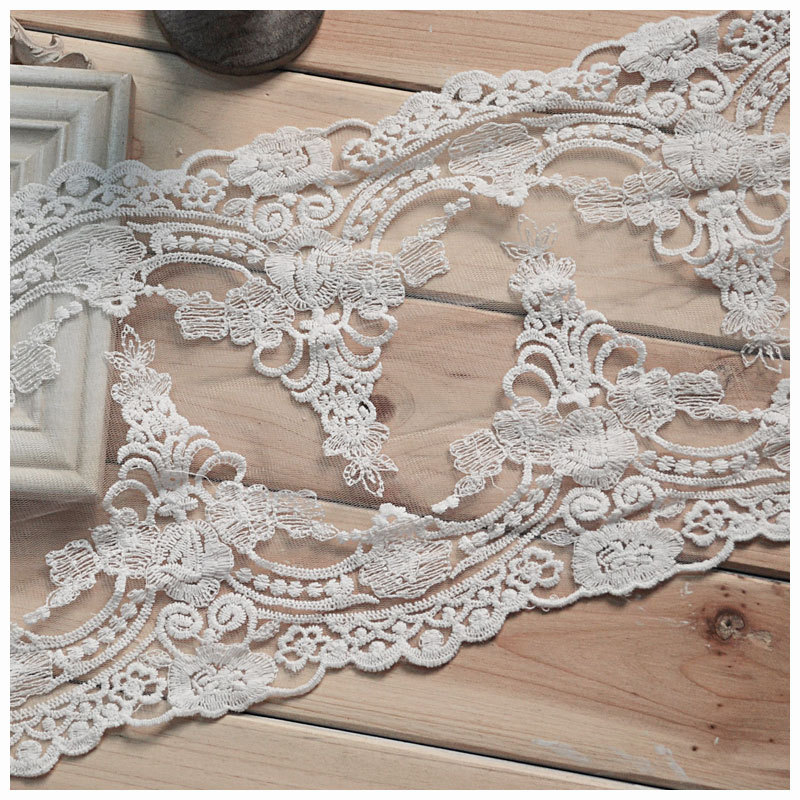 New 8inch/21cm White Cotton Embroidered Bilateral Lace Trimming DIY White Cotton Textile Accessary 5yards/lot Free Shipping Z937
