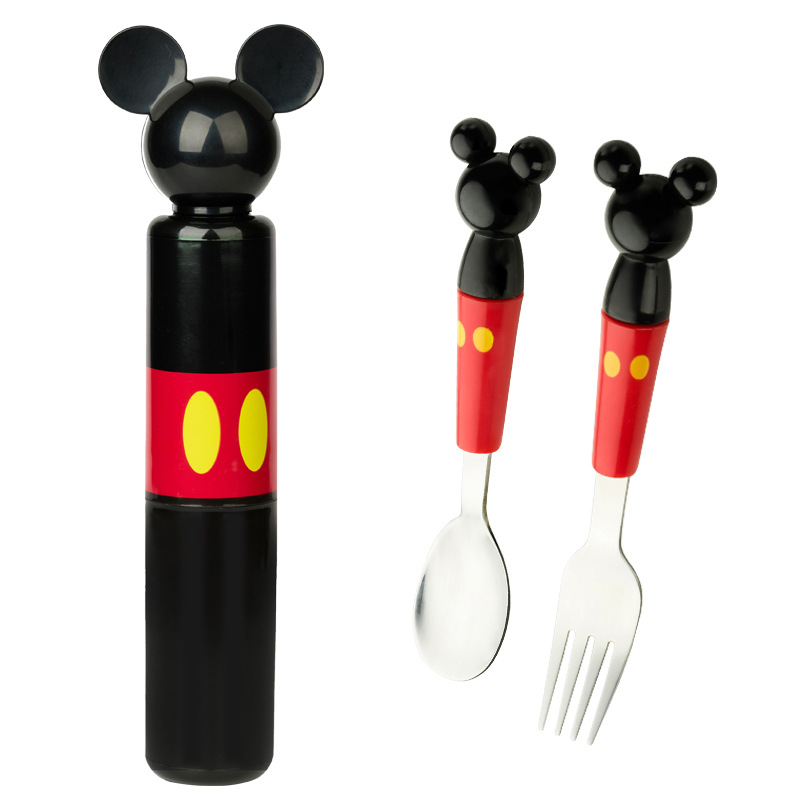 Children stereo mickey head stainless steel fork portable baby boxed set tableware consisting training Fork Spoon Set