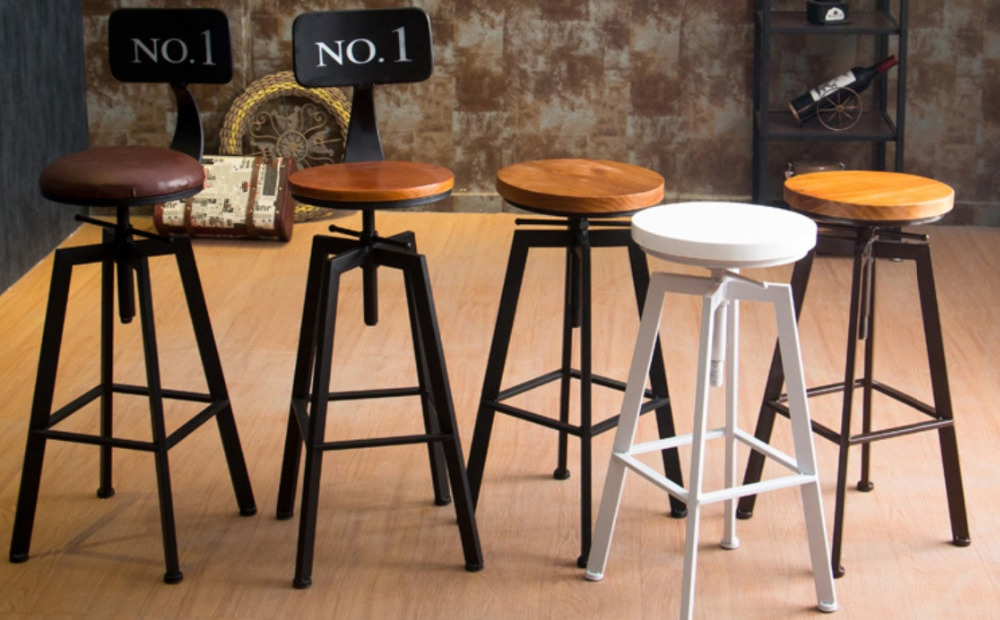 vintage retro industrial look rustic swivel kitchen bar stool cafe chair for home kitchen. Black Bedroom Furniture Sets. Home Design Ideas