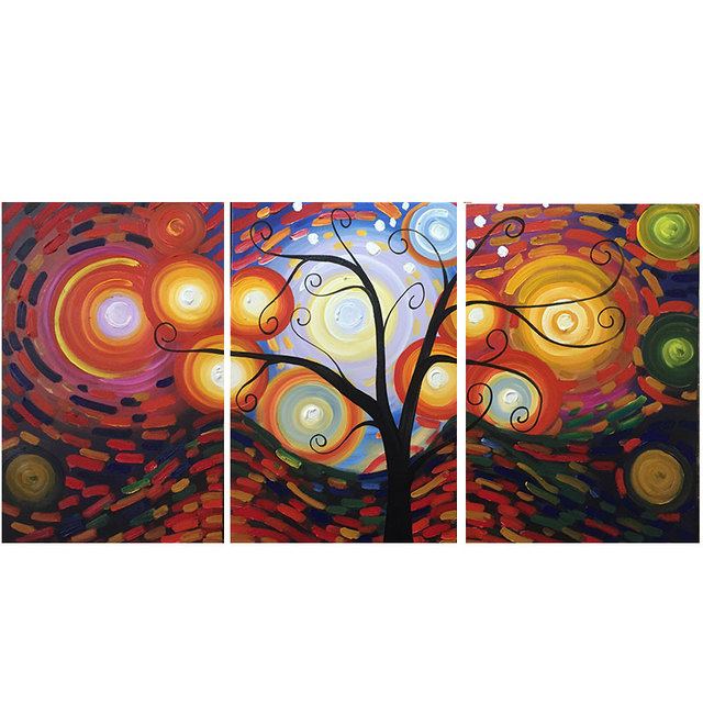 3 p handgemaltes ölgemälde leinwand star baum ölgemälde abstrakte ... - Moderne Kunst Wohnzimmer