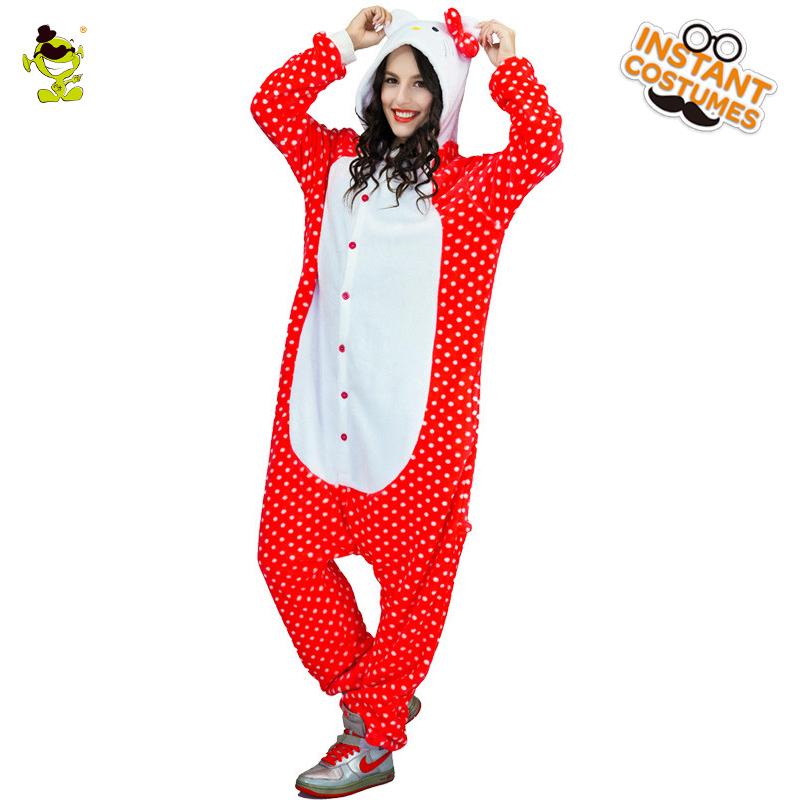 High Quality Women HelloKitty Pajama Woman Cute Pajamas Costumes Carnival Party Adult Hooded Dressup Funny HelloKitty Sleepwear
