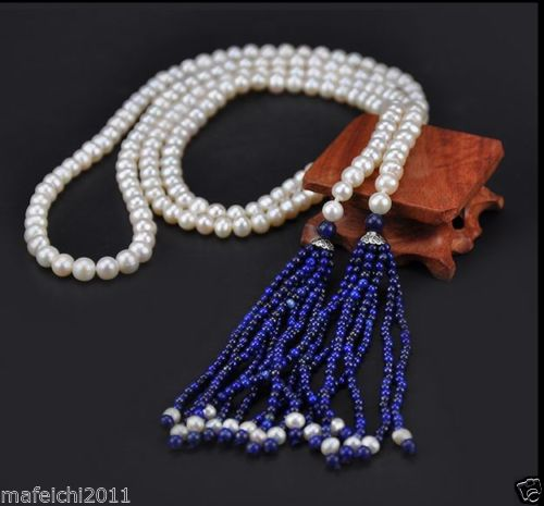 AAA Akoya 8-9MM White PEARL NECKLACE WIHT Lapis Lazuli LONG NECKLACE
