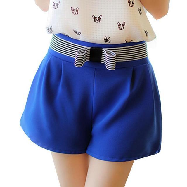 2017 New Bow Decoration Shorts Women High Waist Candy Color Short Feminino Slim Casual Short Jeans Large Size Women Shorts