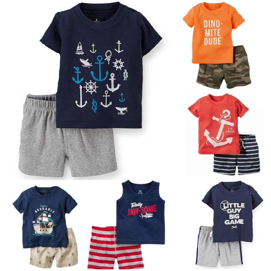 Casual Baby-kleidung Anzug Neugeborenes 2 STÜCKE Kleidung Sets Sailor Anker Sommer Baumwolle Baby T-Shirt Shorts Hose 100% Baumwolle Outfits Top