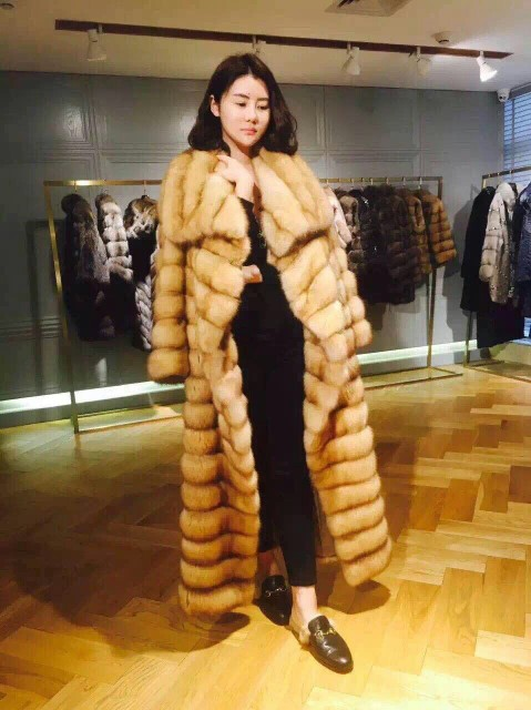 Arlenesain custom gold color x-long real sable fur women coat  479