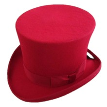15cm(5.89inch) Red Steampunk Hat Wool Fedoras Mad Hatter Top Hat Victorian Male Millinery Traditional Magic Trick Magician Caps
