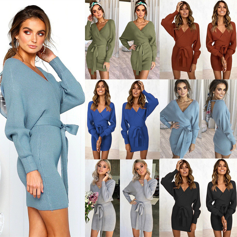 Winter Dress 2019 New Fashion Long Sleeve Sweater Knitted Women Dresses Sexy V-Neck Backless Sashes Package Hip Dress Vestidos